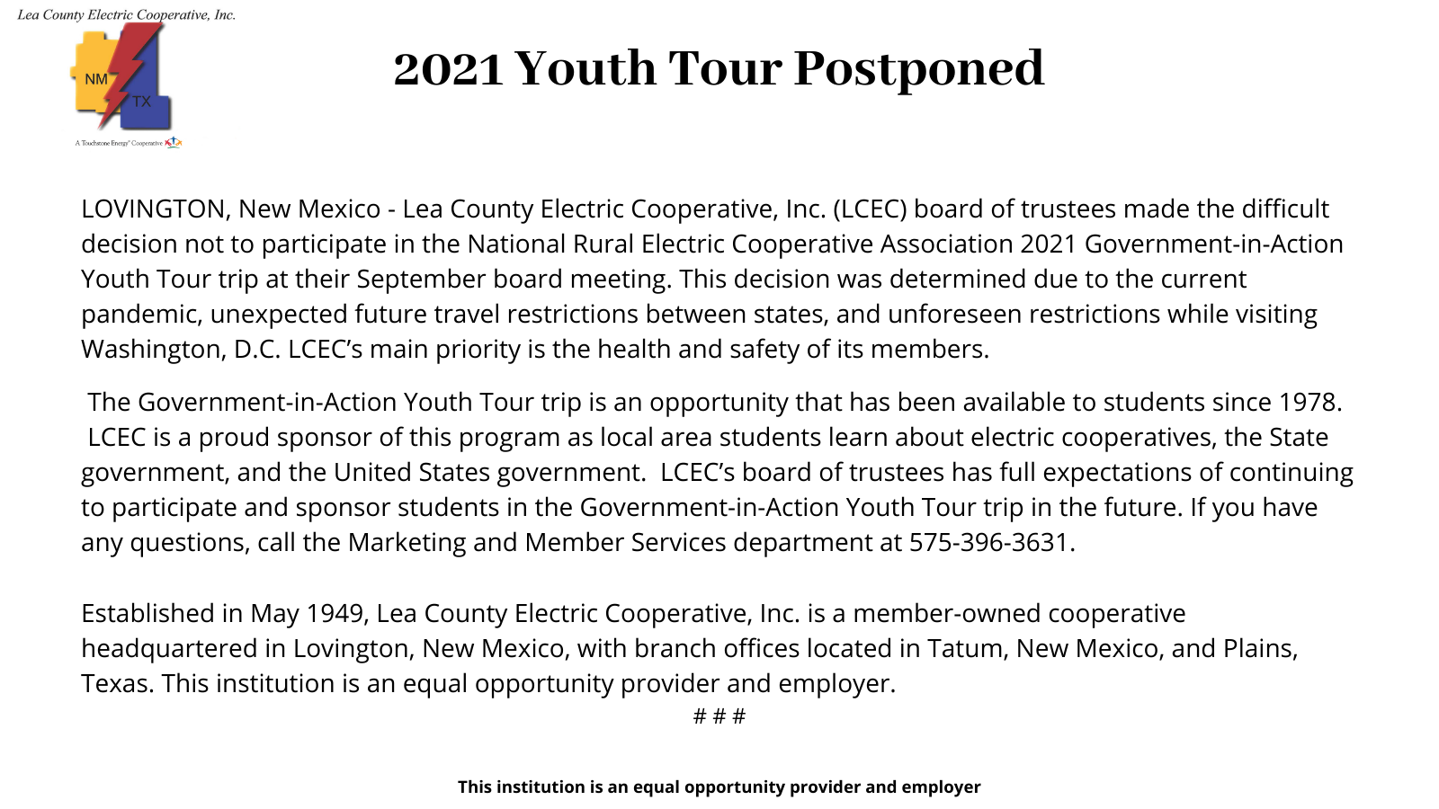 2021 Youth Tour postponed